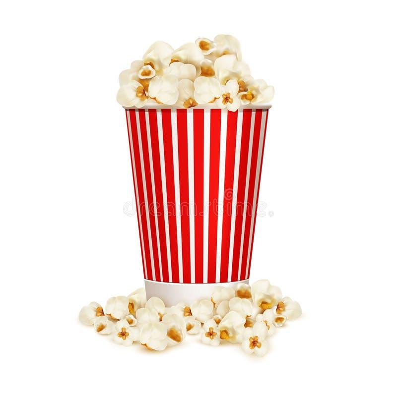 Διανυσματικό popcorn στο ριγωτό κάδο που απομονώνεται στο άσπρο υπόβαθρο ελεύθερη απεικόνιση δικαιώματος