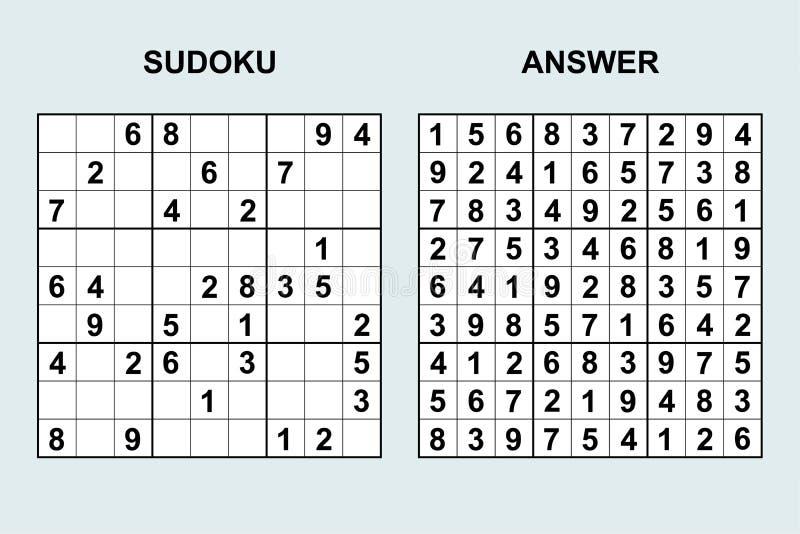 Διανυσματικό sudoku με την απάντηση απεικόνιση αποθεμάτων