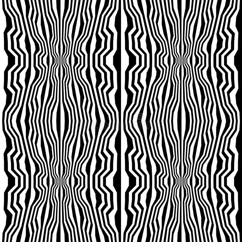 Διανυσματικό trippy σχέδιο γεωμετρίας hipster αφηρημένο με τα λωρίδες, γραπτό άνευ ραφής γεωμετρικό υπόβαθρο ελεύθερη απεικόνιση δικαιώματος