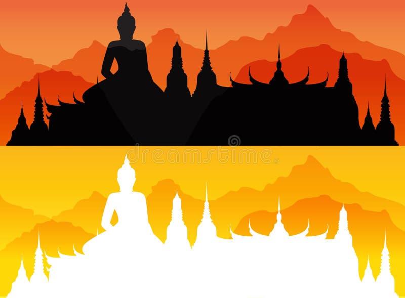 Διανυσματικό Wat στη Μπανγκόκ Ταϊλάνδη διανυσματική απεικόνιση