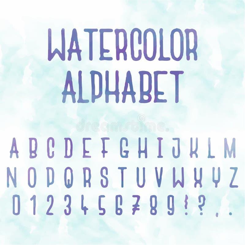 Διανυσματικό watercolor αφηρημένο αλφάβητο Επιστολές με το μπλε υπόβαθρο συρμένο χέρι τύπων χαρακτήρω& απεικόνιση αποθεμάτων