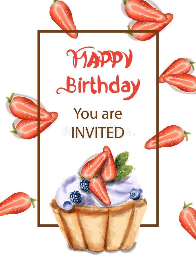 Διανυσματικό watercolor καρτών πρόσκλησης γενεθλίων cupcake Γλυκά cupcakes φραουλών και βακκινίων ελεύθερη απεικόνιση δικαιώματος