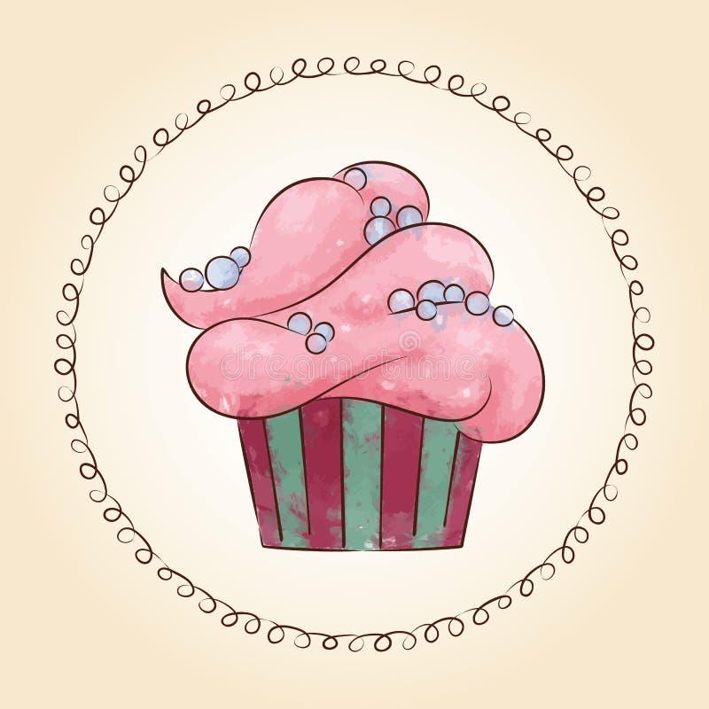 Διανυσματικό watercolor cupcake με τα μαργαριτάρια επίσης corel σύρετε το διάνυσμα απεικόνισης απεικόνιση αποθεμάτων