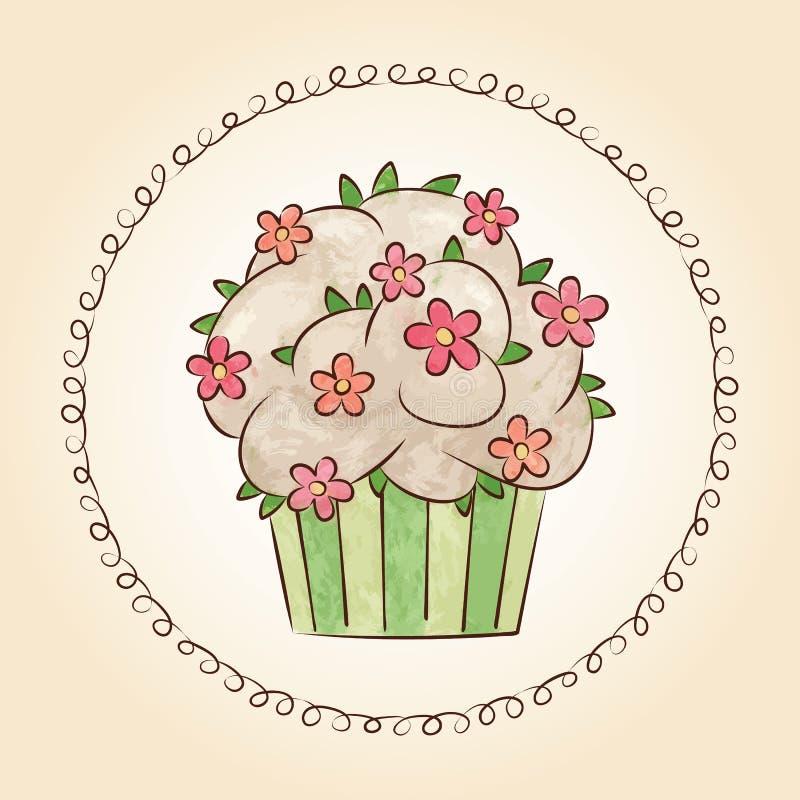 Διανυσματικό watercolor cupcake με τα λουλούδια και τα φύλλα επίσης corel σύρετε το διάνυσμα απεικόνισης ελεύθερη απεικόνιση δικαιώματος