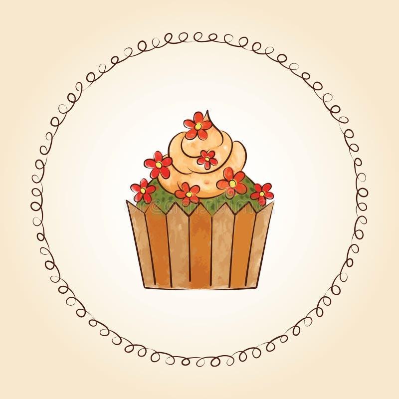 Διανυσματικό watercolor cupcake με τα λουλούδια και τα φύλλα επίσης corel σύρετε το διάνυσμα απεικόνισης διανυσματική απεικόνιση