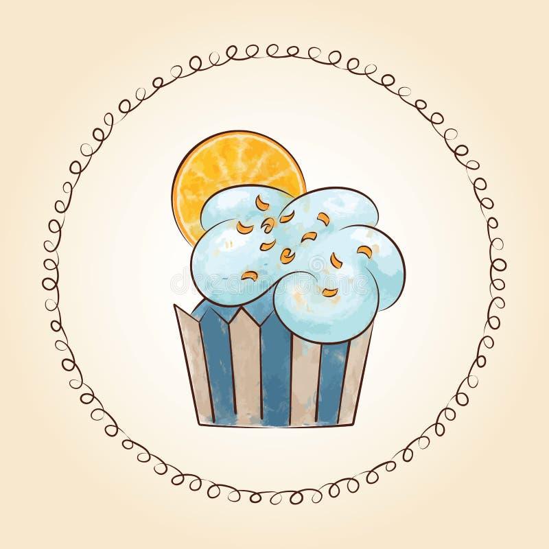 Διανυσματικό watercolor cupcake με την πορτοκαλιά φέτα επίσης corel σύρετε το διάνυσμα απεικόνισης διανυσματική απεικόνιση