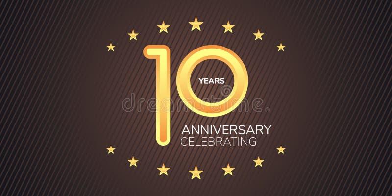 10 διανυσματικών έτη εικονιδίων επετείου, λογότυπο Γραφικό στοιχείο σχεδίου με το χρυσό ψηφίο νέου διανυσματική απεικόνιση