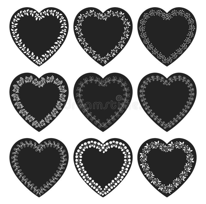 Διανύσματα που τίθενται με τις μαύρες διαμορφωμένες καρδιά ετικέττες ελεύθερη απεικόνιση δικαιώματος
