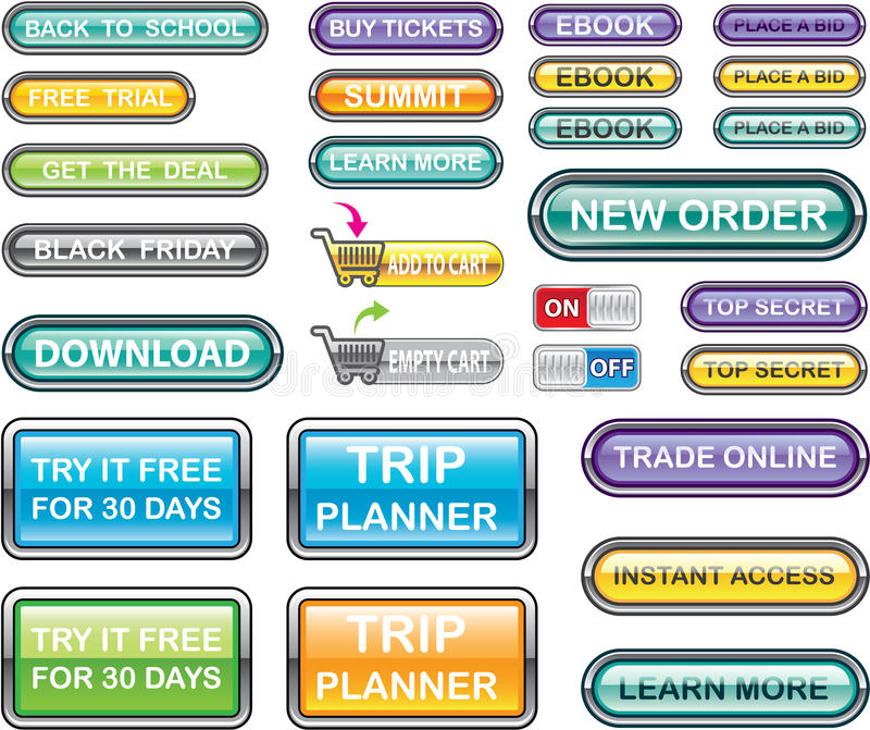 Διανύσματα συλλογής κουμπιών απεικόνιση αποθεμάτων