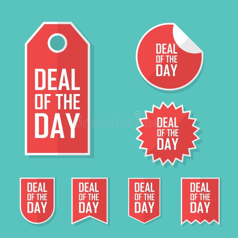 Διαπραγμάτευση της αυτοκόλλητης ετικέττας πώλησης ημέρας Σύγχρονο επίπεδο σχέδιο, ετικέττα κόκκινου χρώματος Διαφημιστική προωθητ ελεύθερη απεικόνιση δικαιώματος