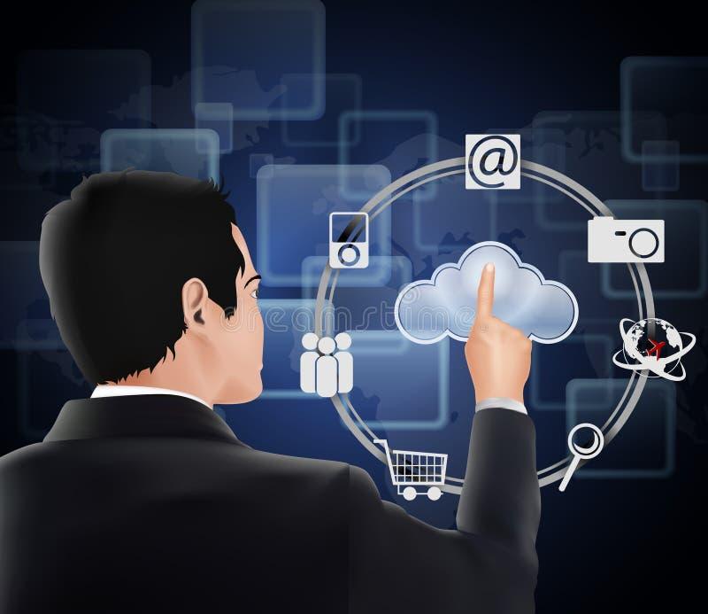 Διαπροσωπεία οθονών επαφής υπολογισμού σύννεφων ελεύθερη απεικόνιση δικαιώματος