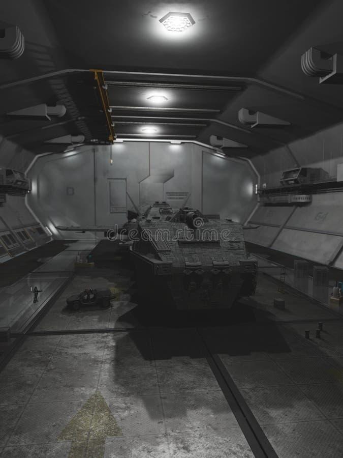 Διαπλανητικό διαστημόπλοιο στην αποβάθρα επισκευής διανυσματική απεικόνιση