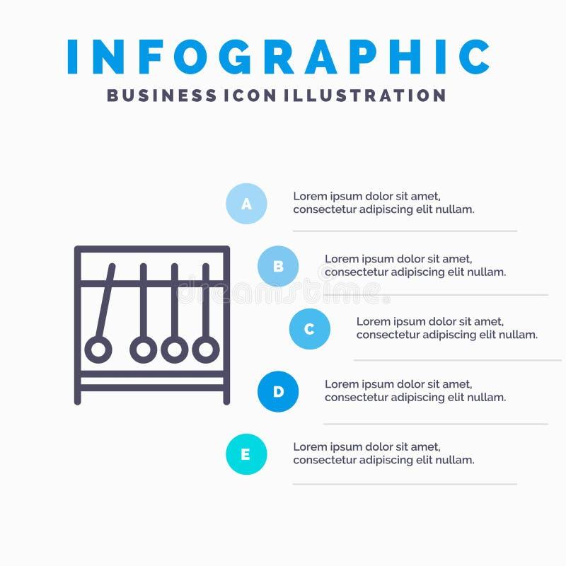 Διαρκής, κίνηση, ιατρικός, εικονίδιο γραμμών ιατρικής με το υπόβαθρο infographics παρουσίασης 5 βημάτων ελεύθερη απεικόνιση δικαιώματος
