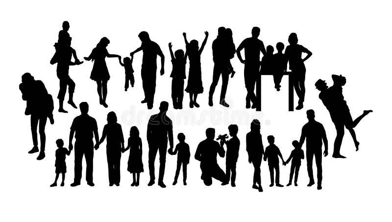 Διασκέδαση και ευτυχείς οικογενειακές σκιαγραφίες, διανυσματικό σχέδιο τέχνης απεικόνιση αποθεμάτων