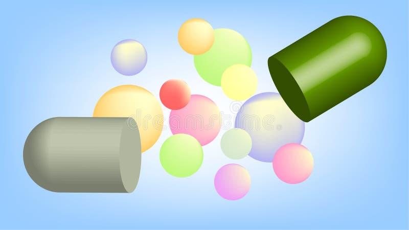 Διασπασμένη κάψα στη φαρμακευτική έννοια τεχνολογίας απεικόνιση αποθεμάτων