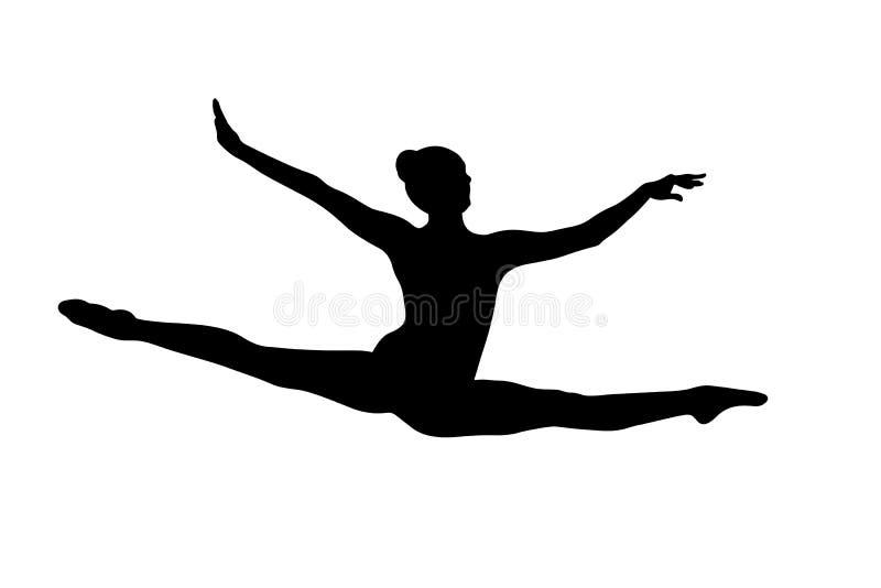Διασπασμένος θηλυκός gymnast άλματος ελεύθερη απεικόνιση δικαιώματος