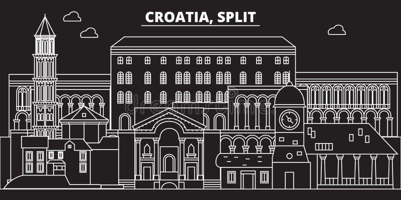 Διασπασμένος ορίζοντας σκιαγραφιών Κροατία - διασπασμένη διανυσματική πόλη, κροατική γραμμική αρχιτεκτονική, κτήρια Διασπασμένο τ ελεύθερη απεικόνιση δικαιώματος