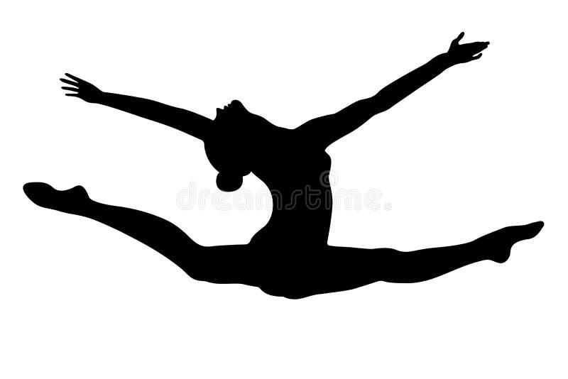 Διασπασμένος gymnast άσκησης πηδήματος διανυσματική απεικόνιση