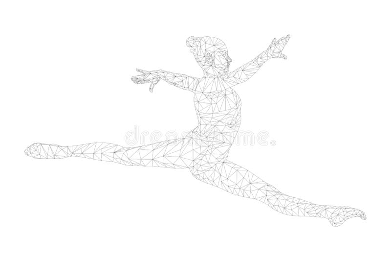 Διασπασμένος gymnast γυναικών άλματος στοκ φωτογραφία