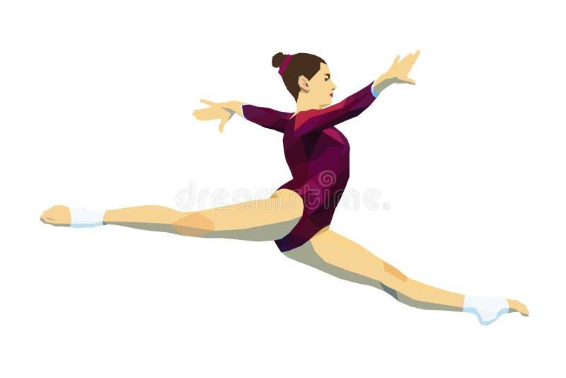 Διασπασμένος gymnast γυναικών άλματος απεικόνιση αποθεμάτων
