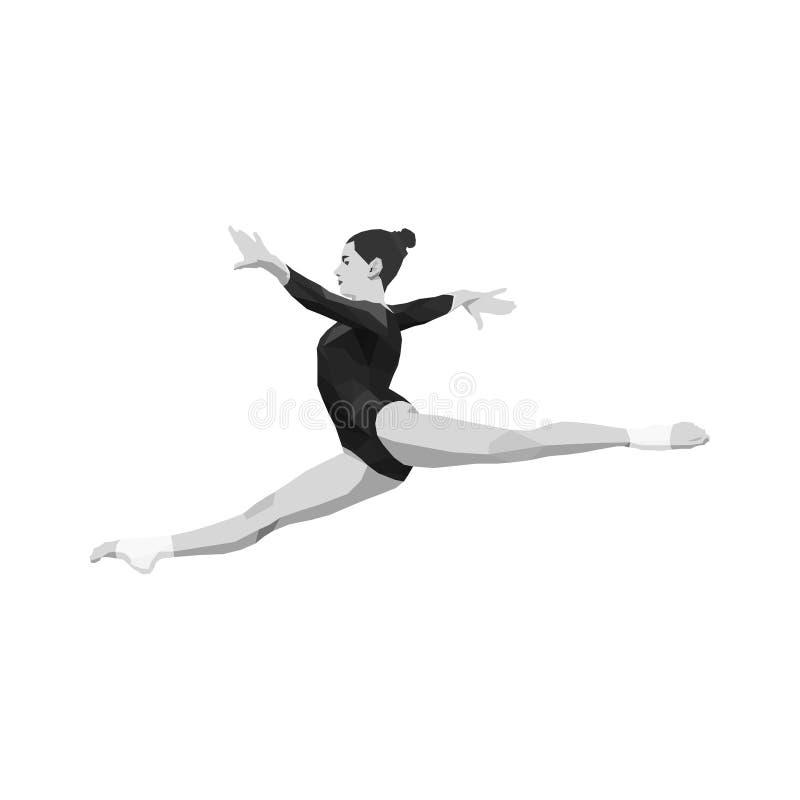 Διασπασμένος gymnast γυναικών πηδήματος διανυσματική απεικόνιση