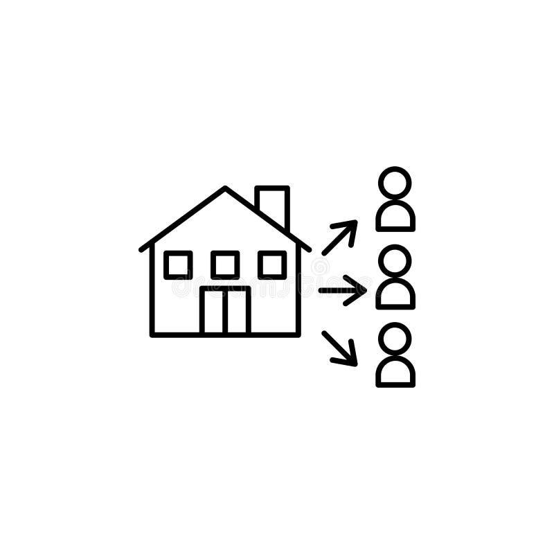 Διασπορά, εικονίδιο διανομής Στοιχείο του κοινωνικών προβλήματος και του εικονιδίου προσφύγων Λεπτό εικονίδιο γραμμών για το σχέδ απεικόνιση αποθεμάτων