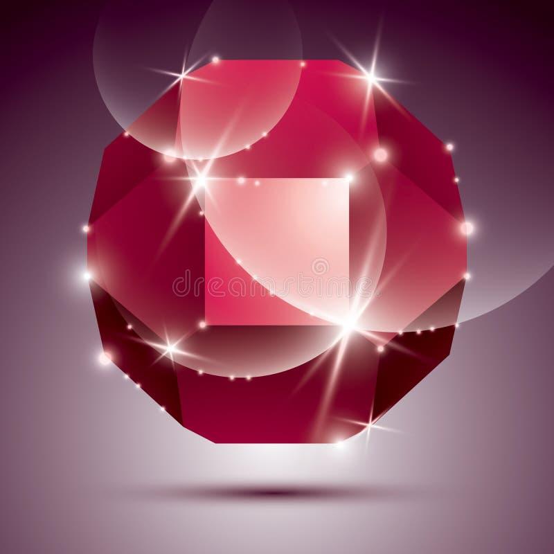 Διαστατική κόκκινη λαμπιρίζοντας σφαίρα disco κόμματος Διανυσματική εκθαμβωτική περίληψη διανυσματική απεικόνιση