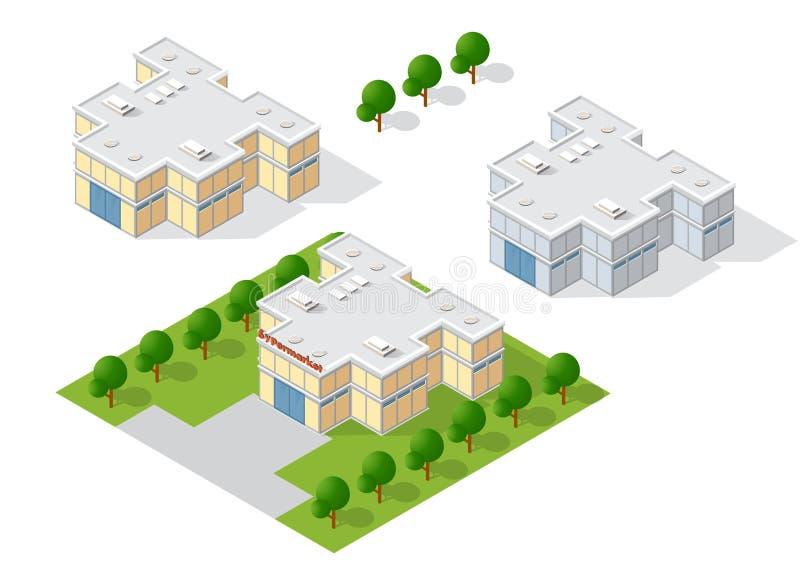 Διαστατική οικοδόμηση της σύγχρονης αρχιτεκτονικής απεικόνιση αποθεμάτων