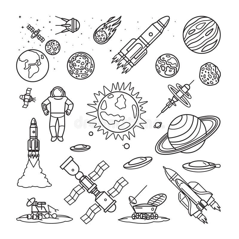 Διαστημικά γραμμικά εικονίδια doodle απεικόνιση αποθεμάτων
