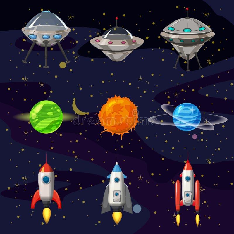 Διαστημικά εικονίδια κινούμενων σχεδίων καθορισμένα Πλανήτες, πύραυλοι, στοιχεία ufo στο κοσμικό υπόβαθρο, διάνυσμα, ύφος κινούμε διανυσματική απεικόνιση