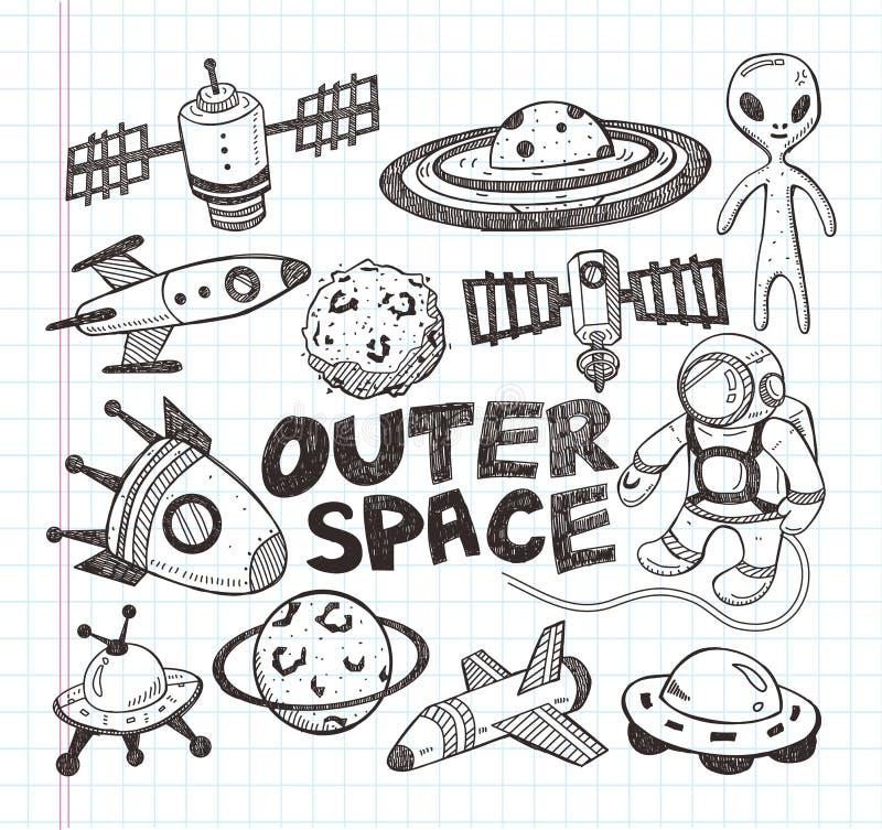 Διαστημικά εικονίδια στοιχείων Doodle διανυσματική απεικόνιση