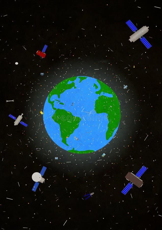 Διαστημικά παλιοπράγματα διανυσματική απεικόνιση