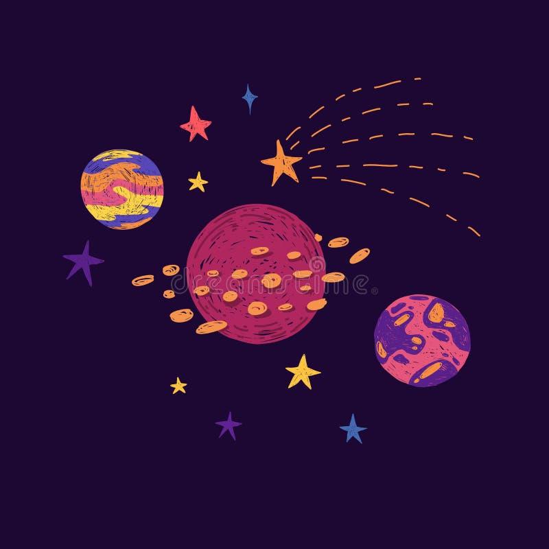 Διαστημικά στοιχεία στο χαριτωμένο ύφος doodle Hand-drawn κοσμικοί πλανήτες, αστέρια και στοιχεία κόσμου για την τυπωμένη ύλη των στοκ εικόνα με δικαίωμα ελεύθερης χρήσης