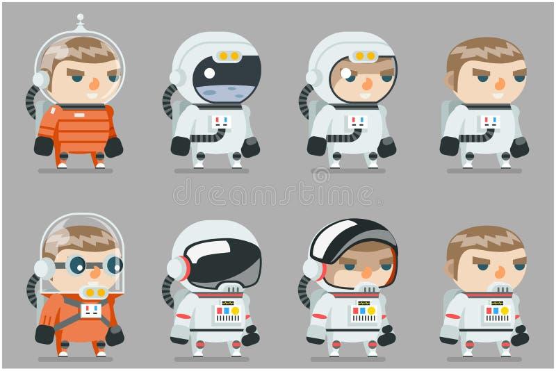 Διαστημικά Spaceman αστροναυτών κοσμοναυτών sci-Fi εικονίδια καθορισμένα το παιχνίδι κινούμενων σχεδίων RPG το επίπεδο σχέδιο δια διανυσματική απεικόνιση