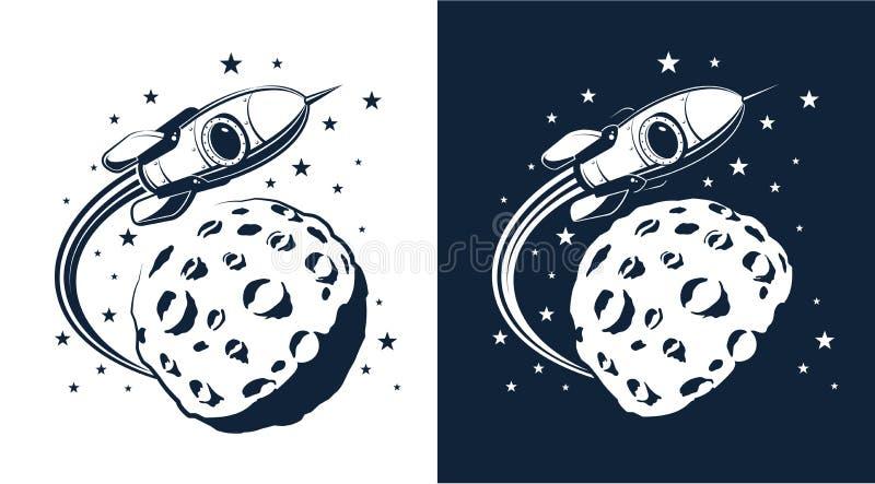 Διαστημικές μύγες πυραύλων γύρω από τον πλανήτη με τους κρατήρες παρόμοιους με το φεγγάρι διανυσματική απεικόνιση