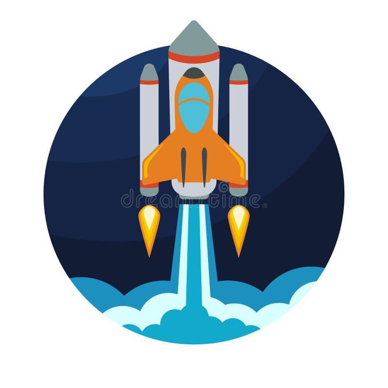 Διαστημική έναρξη σκαφών πυραύλων στον κύκλο ελεύθερη απεικόνιση δικαιώματος