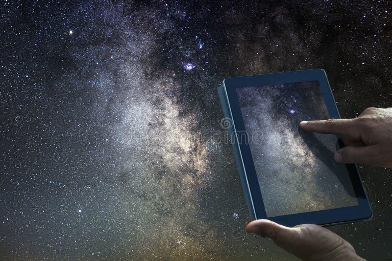 Διαστημική έννοια εξερεύνησης αστρονομίας Γαλακτώδης τρόπος ταμπλετών νυχτερινού ουρανού στοκ φωτογραφίες