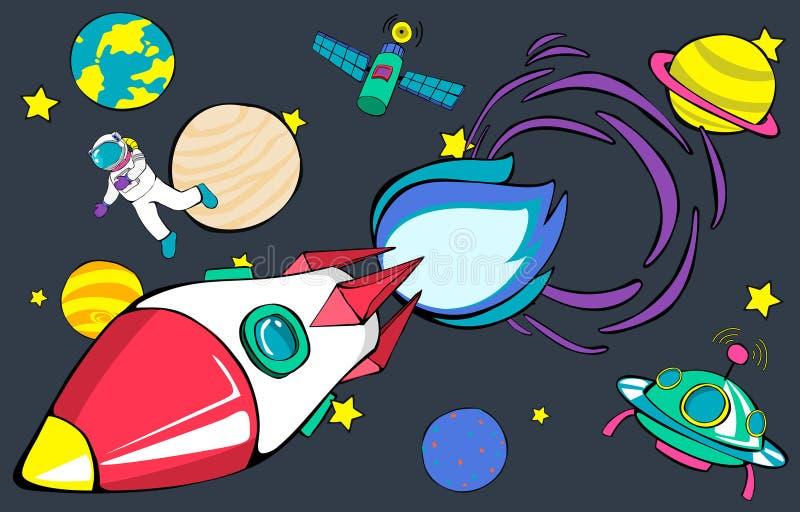 Διαστημική έννοια πλανητών Outerspace έναρξης πυραύλων διανυσματική απεικόνιση
