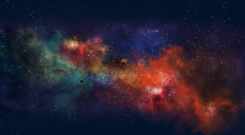 Διαστημική απεικόνιση, με την πυράκτωση χρώματος και τα αστέρια στοκ εικόνες με δικαίωμα ελεύθερης χρήσης