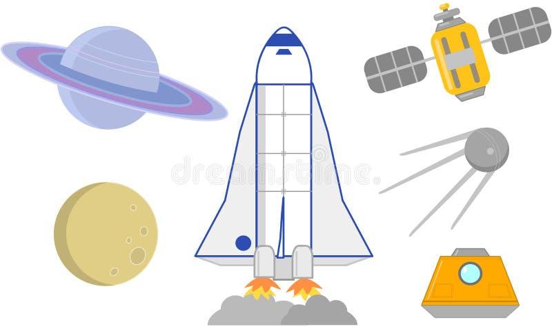 Διαστημική διανυσματική απεικόνιση πυραύλων, δορυφόρων και πλανητών διανυσματική απεικόνιση