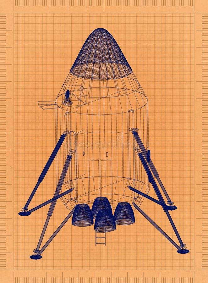 Διαστημική κάψα - αναδρομικό σχεδιάγραμμα ελεύθερη απεικόνιση δικαιώματος