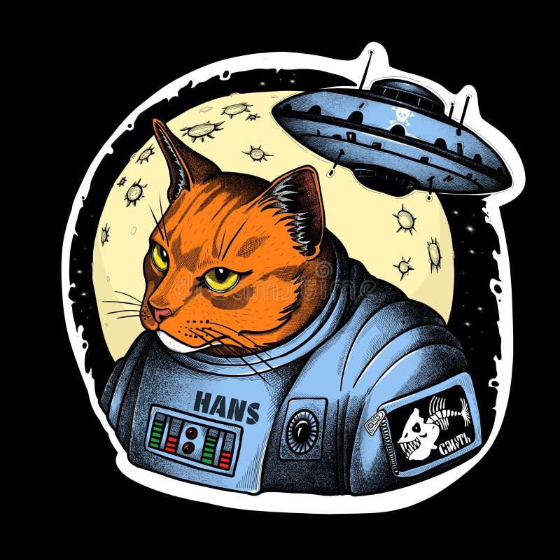 Διαστημική πειρατική γάτα Μεγάλο φεγγάρι στο φόντο απεικόνιση αποθεμάτων