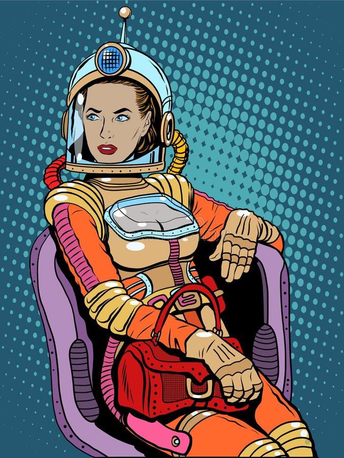 Διαστημική προκλητική επιστημονική φαντασία ομορφιάς κοριτσιών απεικόνιση αποθεμάτων
