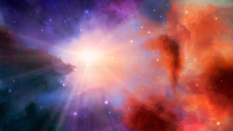 Διαστημική σκηνή Ζωηρόχρωμο νεφέλωμα με τα αστέρια και τις ελαφριές ακτίνες Στοιχεία που εφοδιάζονται από τη NASA τρισδιάστατη απ διανυσματική απεικόνιση