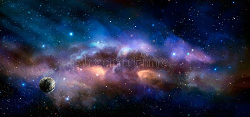 Διαστημική σκηνή Ζωηρόχρωμο νεφέλωμα με τον πλανήτη Στοιχεία που εφοδιάζονται κοντά ελεύθερη απεικόνιση δικαιώματος