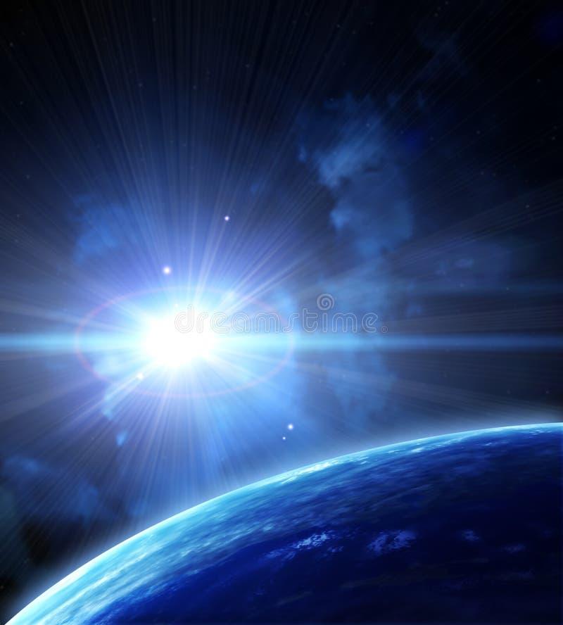 Διαστημική σκηνή με τους πλανήτες και το νεφέλωμα ελεύθερη απεικόνιση δικαιώματος