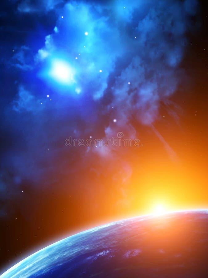 Διαστημική σκηνή με τους πλανήτες και το νεφέλωμα διανυσματική απεικόνιση