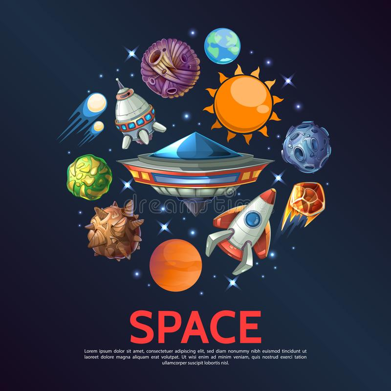 Διαστημική στρογγυλή έννοια κινούμενων σχεδίων ελεύθερη απεικόνιση δικαιώματος