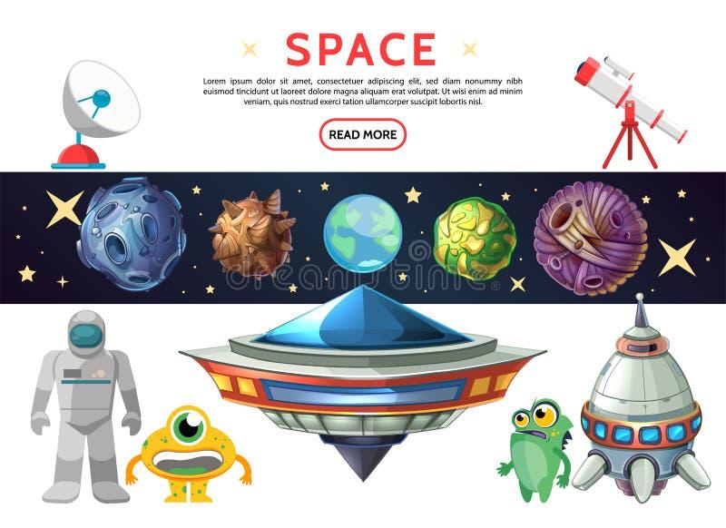 Διαστημική σύνθεση κινούμενων σχεδίων διανυσματική απεικόνιση