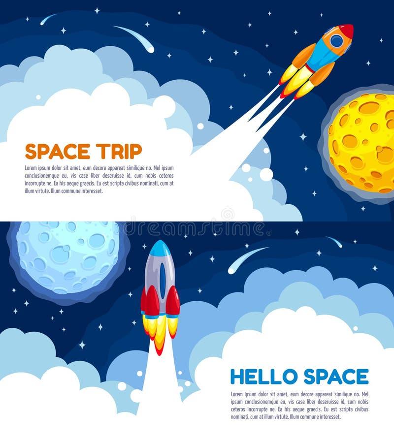 Διαστημική ταξιδιού απεικόνιση κινούμενων σχεδίων πυραύλων διανυσματική ελεύθερη απεικόνιση δικαιώματος